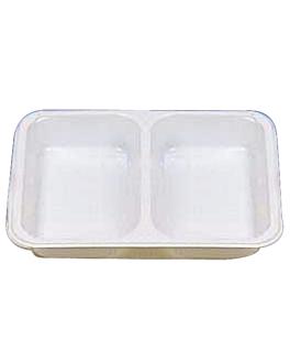 tablett fÜr mikrowelle, 2 fÄcher 22,5x17,5x4,5 cm weiss pp (500 einheit)