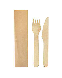 set forchetta, coltello imbustata kraft 'makan' 16 cm naturale legno (100 unitÀ)