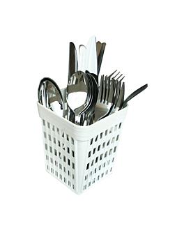 cubilete para cubiertos 10,7x10,7x14 cm blanco pp (1 unid.)