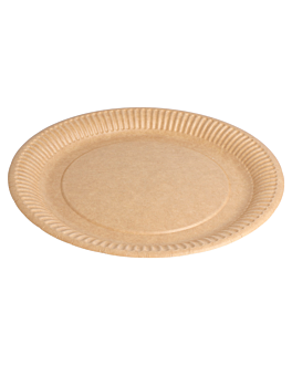 round embossed bio-lacquered plates 260 gsm Ø 23 cm natural cardboard (400 unit)