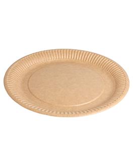 piatti rotondo goffrati bio-laccati 260 g/m2 Ø 23 cm naturale cartone (400 unitÀ)