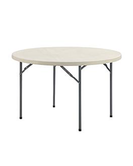 table ronde pliable Ø 120x74 cm creme pe (1 unitÉ)