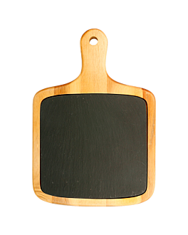 rectangular presentation tray 33x23x1,5 cm natural slate+wood (4 unit)