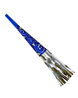 trompettes holografiques 26 (h) cm bleu carton (12 unitÉ)