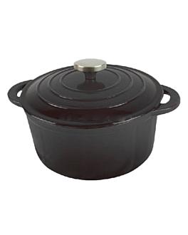 cocotte ronde avec couvercle 2,5 l Ø 21 cm noir fer (4 unitÉ)