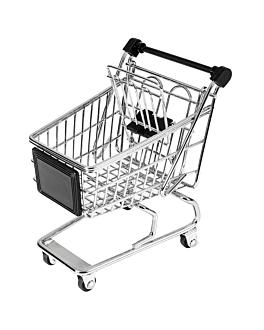 mini carritos de compra 13x13,5x9,5 cm cromado acero (6 unid.)