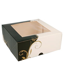 cake boxes with window 275 g/m2 + opp 18x18x7,5 cm white cardboard (50 unit)