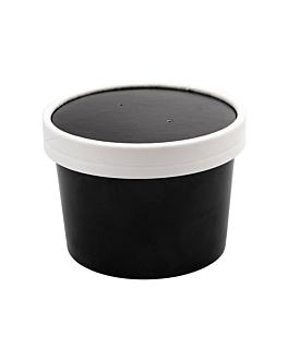recipientes com tampas 240 ml 18pe + 340 + 18 pe g/m2 Ø9/7,5x6 cm preto cartÃo (250 unidade)