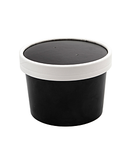 containers + lids 240 ml 18pe + 340 + 18 pe gsm Ø9/7,5x6 cm black cardboard (250 unit)