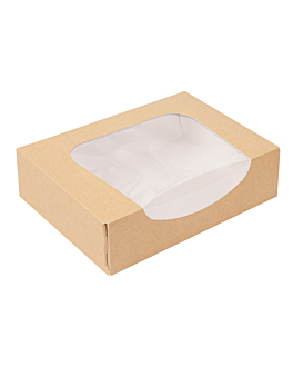 sushi boxes+frontal 'thepack' 220 gsm + opp 17,5x12x4,5 cm brown nano-micro corrugated cardboard (400 unit)