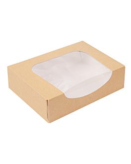 contenitori sushi+finestra 'thepack' 220 g/m2 + opp 17,5x12x4,5 cm marrone cartone ondulato a nano-micro (400 unitÀ)