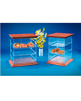cake display - wooden lid 36x45x49 cm clear methacrylate (1 unit)
