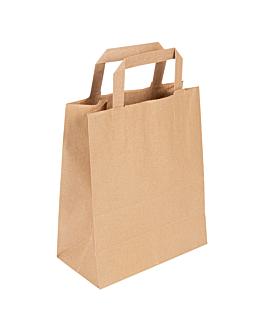 sos bags with flat handles 80 gsm 25+14x30 cm natural kraft (250 unit)