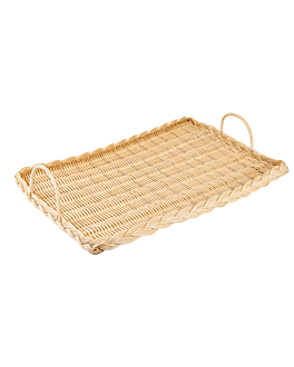 rectangular basket imitation wicker for cheese 52,5x30x3 cm natural pp (1 unit)