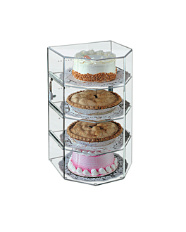 hexagonal cake display 4 levels 31x30,5x54,5 cm clear acrylic (1 unit)