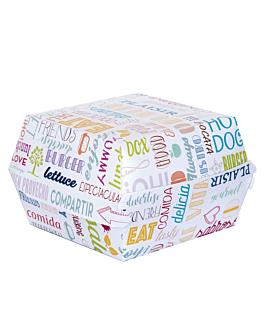 boÎtes hamb. jumbo 'parole' 250 g/m2 14x12,5x8 cm blanc carton (50 unitÉ)