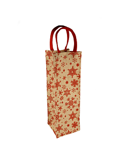 """wine bottle bags """"stars"""" 11+10,5x35 cm natural jute (10 unit)"""