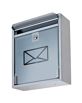buca delle lettere, reception hotel 26x9x31 cm argento acciaio (1 unitÀ)