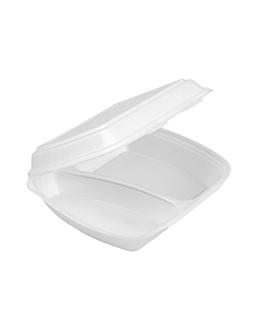 containers 2 compartments 24x21x7 cm white eps (200 unit)