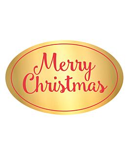 """1000 u. etiqueta """"merry christmas"""" 5,5x3,5 cm dorado adhesivo (1 unid.)"""