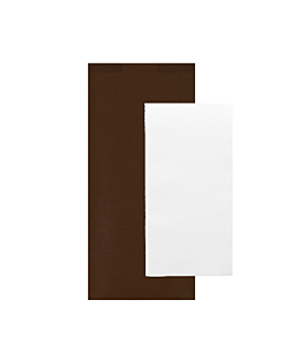 wrapped white napkins 'airlaid' 40x32 cm 'just in time closed' 80 + 10pe gsm 11x25 cm chocolate kraft ribbed (300 unit)