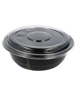 bowls + lids 700 ml Ø 17x6,1 cm black pp (500 unit)
