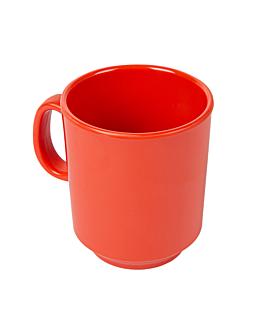coffee mugs 240 ml Ø 8x9 cm red melamine (12 unit)