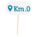 """marcadores """"km 0"""" 8 cm blanco madera (100 unid.)"""