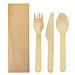 set tenedor, cuchillo, cuchara enfundados kraft 'makan' 16 cm natural madera (100 unid.)