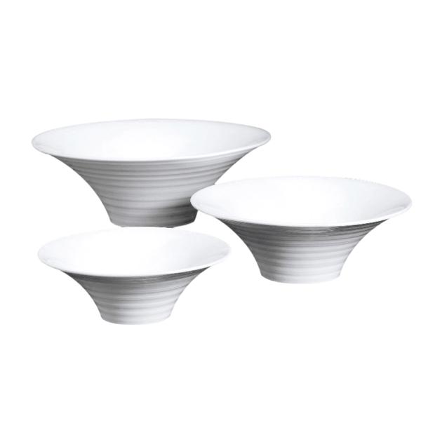 boles estriados 2000 ml Ø 30,6x10,5 cm blanco porcelana (1 unid.)