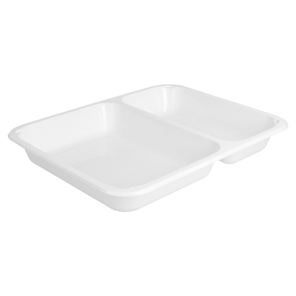 bandejas microondables 2 compartimentos 22,5x17,5x3 cm blanco pp (500 unid.)