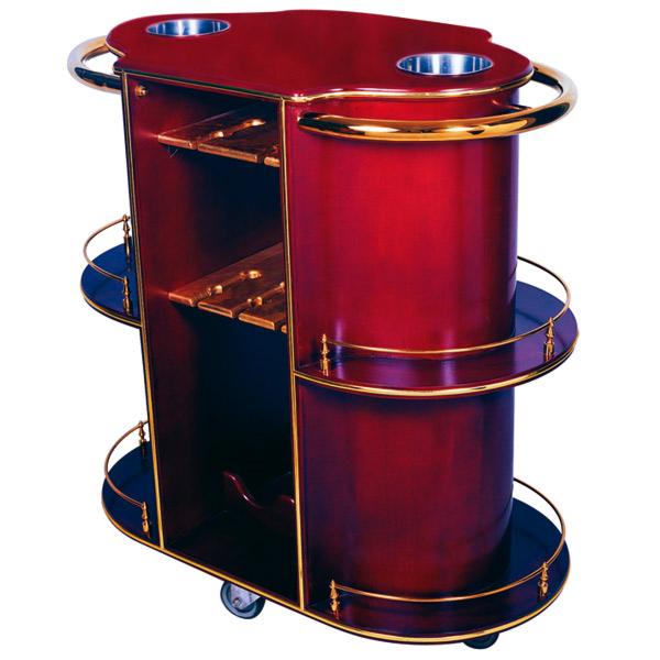carrito licores y vino oval 94x49x100,5 cm marrÓn rojizo madera (1 unid.)