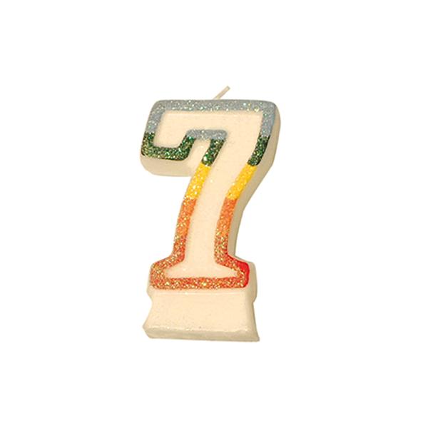velas cumpleaÑos n.7 escarchadas 9 cm blanco cera (24 unid.)