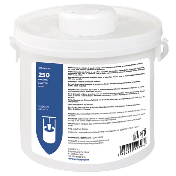 bote dispensador 250 bayetas 14x36 cm blanco viscosa (1 unid.)