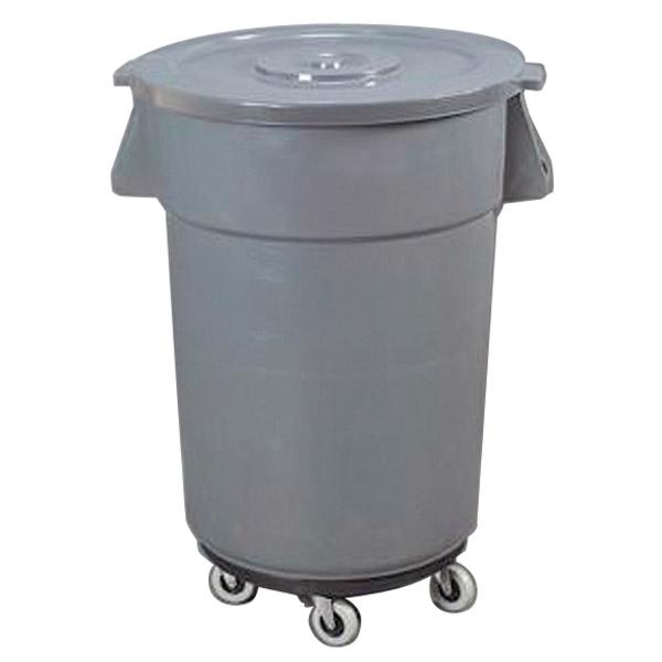 contenedor con tapa + ruedas 122 l Ø 56x69 cm gris pp (1 unid.)