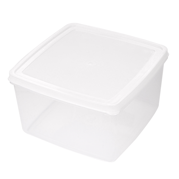recipiente alimentos + tapa incorporada 2500 ml 18,5x18,5x11 cm blanco pp (1 unid.)