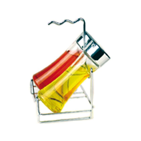 rack + 2 botellas 14x12x20,5 cm plateado cromo (1 unid.)