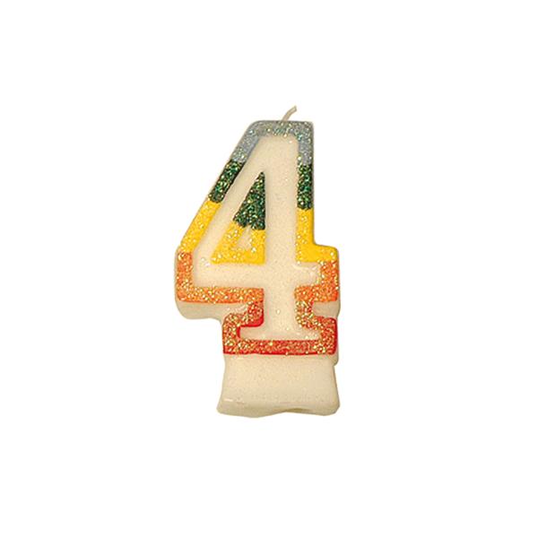 velas cumpleaÑos n.4 escarchadas 9 cm blanco cera (24 unid.)