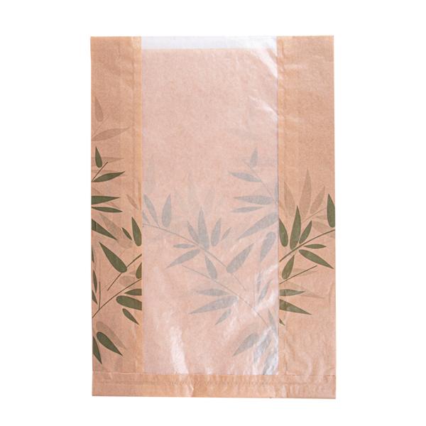 sachets pain rond avec fenÊtre eco 'feel green' 32 g/m2 26+10x38 cm naturel kraft (125 unitÉ)