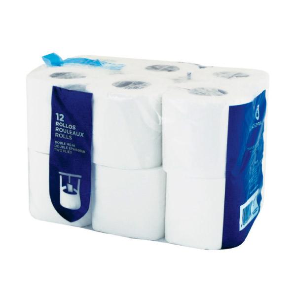 12 u. rouleaux hygiÉniques 2 plis 2x17 g/m2 9 cm (h) x 23 m blanc cellulose (1 unitÉ)