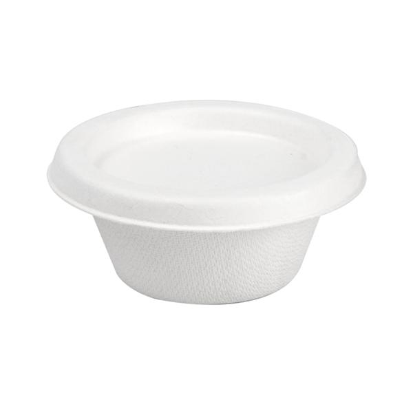mini tubs + lids 'bionic' 60 ml Ø 6,9x3+0,7 cm white bagasse (1000 unit)