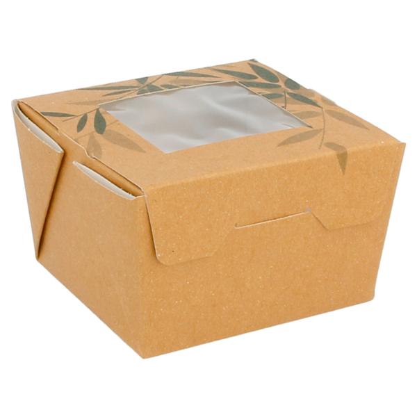 boÎtes avec fenÊtre pour salade 'feel green' 300 ml 300 g/m2 8x7,5x5,5 cm marron carton (50 unitÉ)