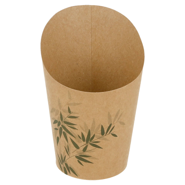 gobelets a frites ouverts 'feel green' 9 oz - 270 ml 200 + 25pe g/m2 Ø7x10,5 cm marron carton (100 unitÉ)