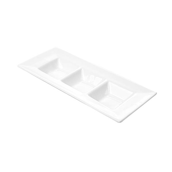 rectÁngulos 3 compartimentos 26 cm blanco porcelana (6 unid.)