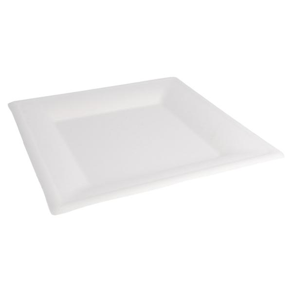 platos cuadrados 'bionic' 26,2x26,2x1,4 cm blanco bagazo (500 unid.)
