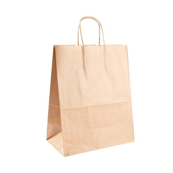 sacchetti sos con manici 80 g/m2 26+14x32 cm naturale kraft (250 unitÀ)