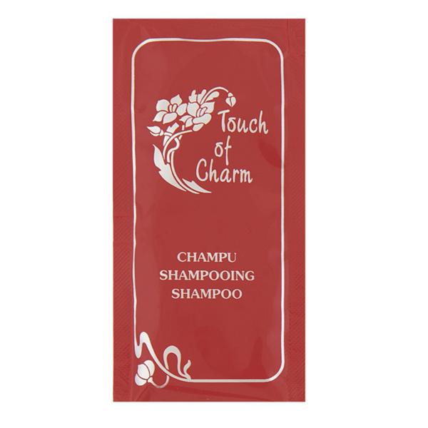 sachets shampooing 'touch of charm' 10 ml 10x5 cm bordeaux pet (1000 unitÉ)