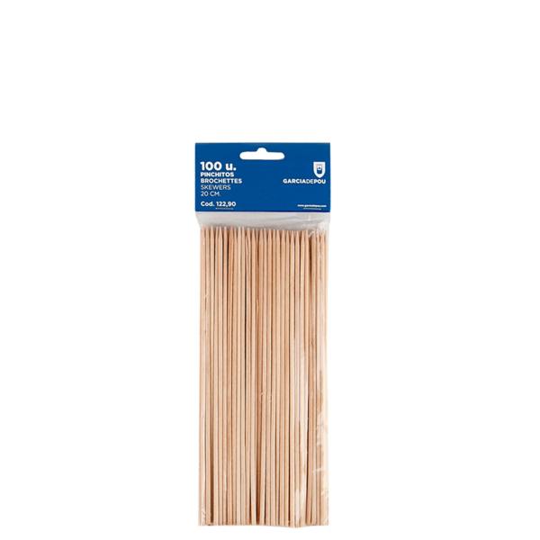 brochetas 20 cm natural madera (100 unid.)