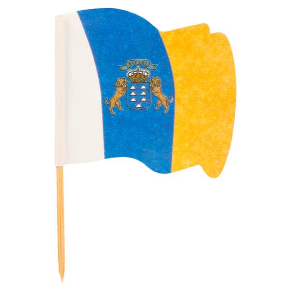 petits drapeaux canarias 4x3/6,5 cm assorti bois (144 unitÉ)