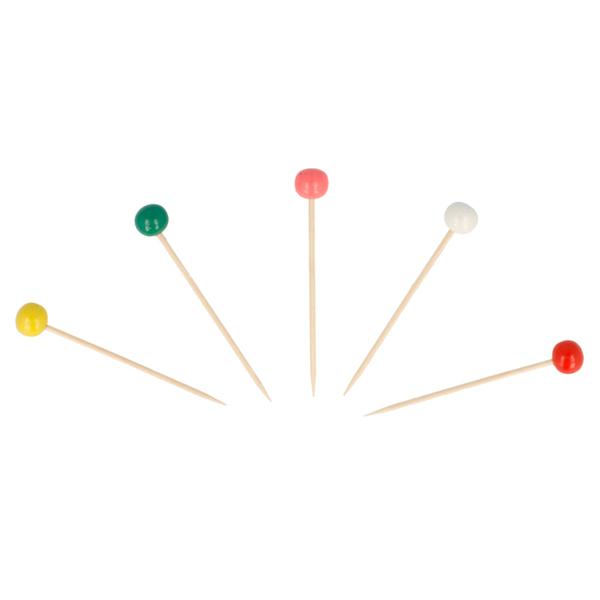 picks bola colores 6,5 (h) cm surtido bambÚ (144 unid.)